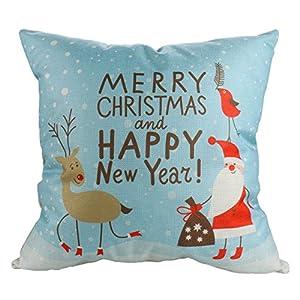 Luxbon Leinen Kissenbezug Lendenkissen Pillowcase Hülle Haus Sofa Zimmer Auto Dekokissen Christmas Weihnachten Karikatur Santa Claus und Rentier Vogel 45 x 45 cm