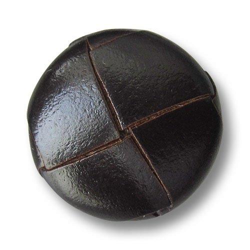 Knopfparadies - 5er Set große dunkelbraun glänzende Lederknöpfe mit Metall-Öse in klassisch geflochtener Form / Dunkelbraun glänzend / Leder Knöpfe / Ø ca. 24mm