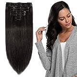 Extension a Clip Cheveux Naturel - Rajout Vrai Cheveux Humain à Clips 8 Mèches - Epaisseur Moyenne (#1B NOIR NATUREL, 25cm-70g)