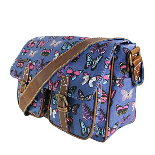 Miss LuLu Crossbody-Tasche Schulranzen Schultasche Tote Bag mit Drucken Damen Herren Canvas (L1157-Blumen/Grau) L1157-Schmetterling/Dunkelblau