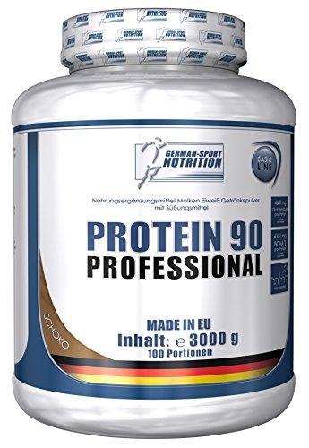 Protein 90 Professional, 3000 g Eiweißpulver Eiweißshake Proteinshake 3 Kg Schoko Cookies + Whey Isolat