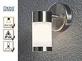 Stilvolle LED Außenwandleuchte MODENA mit Edelstahl / Opal Glas – für tolle Akzente an der Hauswand!