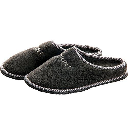 Warme weiche Fleece Damen Hausschuhe, Pantoffeln, Hüttenschuhe, Schlappen, Puschen (39, dunkel grau)