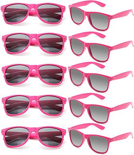 FSMILING Nerd Party Sonnenbrille UV400 Retro Design Stil Unisex Brille - (10 Stück Heiß Rosa Brillen) (Heiße Nerd Kostüm)
