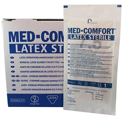 50 Paar MED-COMFORT Latex Operationshandschuhe steril puderfrei, Größe:7.5 (Steril Latex Verpackt)