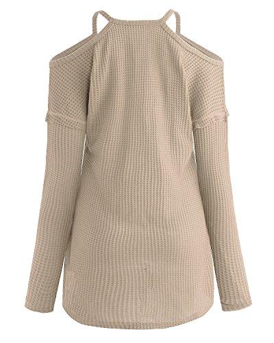 ACHIOOWA Donna Magliette Manica Lunga Maglie Collo V Nuovo Moda T-Shirt Bluse Elegante Casual Top Basic Beige