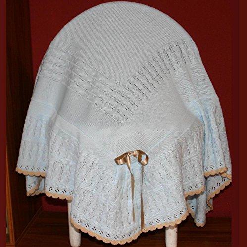 PRIMERAEDAD/toquilla con volante en lana combinada celeste camel