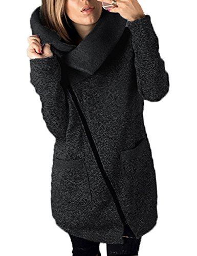 570g Junshan Mantel Damen schwarz Lang Jacke Updated Outwear Tops Strickmantel Warm Oversized 36-50 (42, Schwarz)
