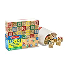 Melissa and Doug Deluxe Wooden ABC/123 Blocks Set, 50 Pieces