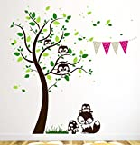 Wandtattoo Baum mit Eulen Eulenwandtattoo Wandtattoo Füchse Wimpel Punkte M1199 (Farbkombi schoko/dklgr./grün/grau/pink, XL)