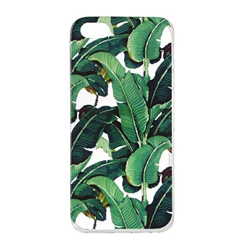 iPhone 5S / iPhone SE Hülle, Voguecase Silikon Schutzhülle / Case / Cover / Hülle / TPU + PC Gel Skin für Apple iPhone 5 5G 5S SE(Grüne Blätter) + Gratis Universal Eingabestift Grüne Blätter