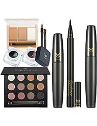 Sharplace Pro Kit Maquillage Palette Ombre à Paupières +3 Couleurs Poudre à Sourcils+Eyeliner Stylo Noir +Eyeliner Gel+Mascara Noir