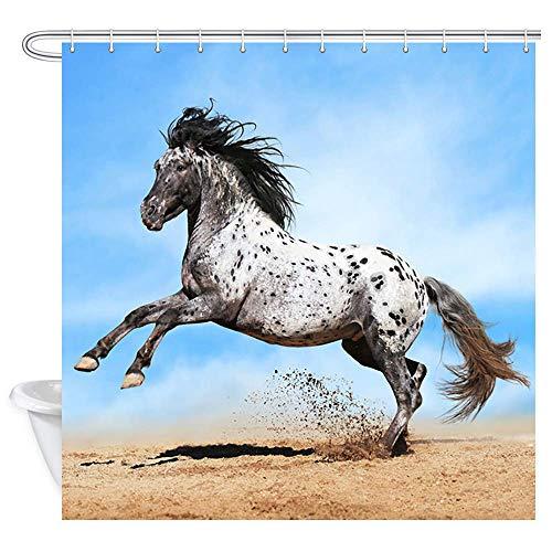 Aliyz Bauernhof Tiere Pferd Duschvorhang Laufen Safari Tier Schwarz und Weiß Pferde Bad Vorhänge Wasserdichtes Gewebe Panel Bad Vorhang mit 12 Haken 71X71in (Pferd-gewebe-panel)