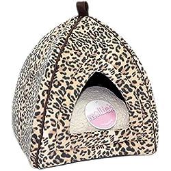 Petface Mollie 's gato Cesta en forma de iglú de antelina con leopardo
