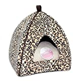 Petface Mollie's Luxury Faux Suede Leopard Igloo Cat Bed