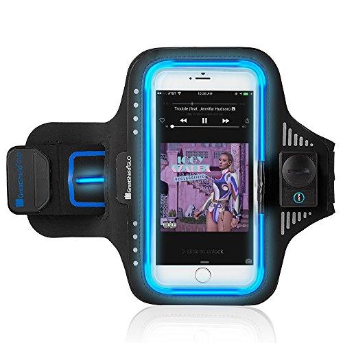 GreatShield GLO LED Neopren-Sport-Armband für Motorola Moto G6 / G6 Play / G6 Plus, Samsung Galaxy S7 Edge, Google Pixel/Pixel XL, und Andere 5,5