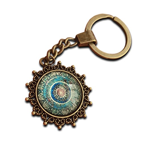 Llavero de mandala espiritual, abstracto de bronce chapado en curación y energía, regalo de yoga, geometría sagrada