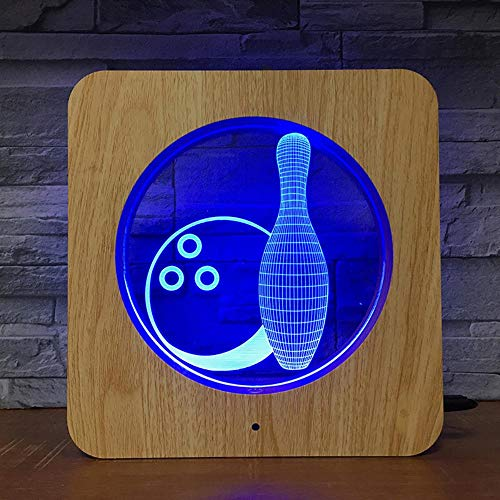 Bowling Night Light 3D Holz Frame Lights Seven Colors Touch Colorful Schlafzimmer Tischlampe