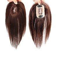 "Remeehi 3""x4"" Mono Top Piece High Quality Real Human Hair Topper Clip in Hair Piece (10inch dark brown)"