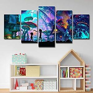 ZEMER Wand-dekor Rick and Morty Poster Wandkunst Bild Leinwanddrucke Malerei 5 Panels Modern Für Kinderzimmer Home Decor…
