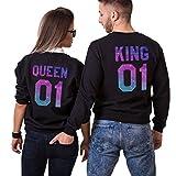 King Queen Pullover Pärchen Set Partner Look Sweatshirt Set Paare Pulli Couple Hoodie Schwarz Weiß Damen Baumwolle Herbst Winter Geschenk 2 Stücke (Schwarz-Herr-L+Dame-S)
