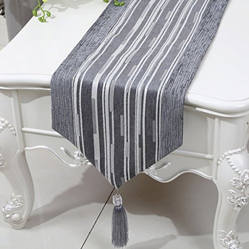 BSNOWF-Chemin de table Table Table Chenille Stripe Bed Table Basse Style Européen Classique Simple Table Moderne Tapis ( Couleur : Triangle , taille : 33*200cm )