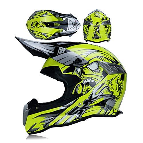LEENY Adulto Casco de Motocross Amarillo Monster Casco de Cross con Visera...