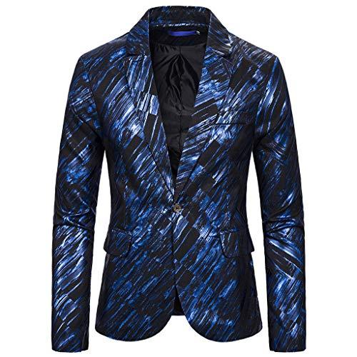 Obestseller Mode für Herren Herbst Winter Casual Gold Print Button Jacke Langarm Mantel Top Sakkos Men's Anzugjacken Tuxedo Handsome for Party -