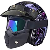 YGFS Junge Männer Und Frauen Motorradhelm Punkt Zertifizierung Pedal Cruiser Retro Camouflage Leder...