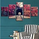 ycmjh Stampe Moderne Arte murale Decorativa 5 Pezzi binari ferroviari e Alberi Autunnali Paesaggio Rosso modulare Pittura su Tela, Size2