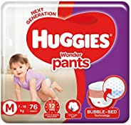 Huggies Wonder Pants Medium (M) Size Baby Diaper Pants, 76 count, with Bubble Bed Technology for comfort