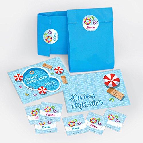 10 Einladungskarten zum Kindergeburtstag Schwimmbad Party / Pool Party / schöne und bunte Einladungen / Umschläge / Party-Tüten (10 Karten + 10 Umschläge + 10 Party-Tüten + 10 Aufkleber)