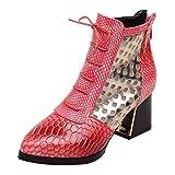 Botas Zapatos Flip Flop Mujer Botines de Moda Serpiente Tacones Altos Cortos Zapatos de Invierno Punta Estrecha Mujer Nordic Walking Zapatillas Victoria Tela Rojo 37