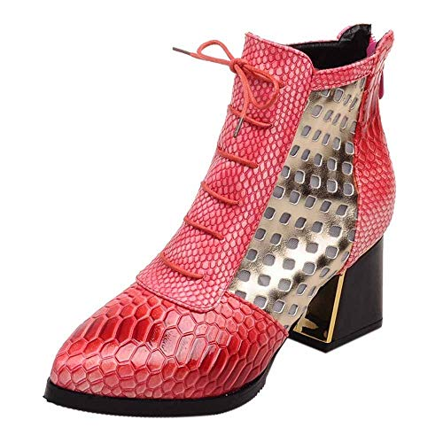 Selou Damen Mode Stiefeletten Snakeskin Design High Heels Sexy Stiefeletten Spitze Winterschuhe Lederschuhe Warme Schuhe Retro Schneestiefel Dicke Stöckelschuhe