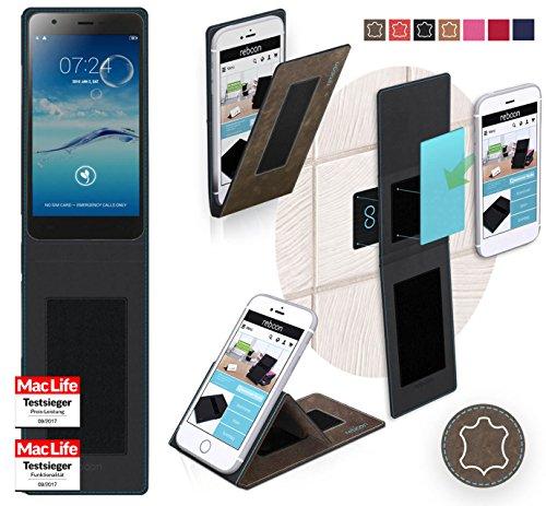 reboon Hülle für Jiayu S3 Tasche Cover Case Bumper | Braun Wildleder | Testsieger