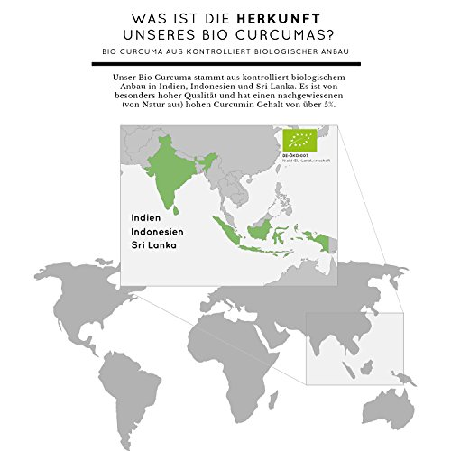 Bio Curcuma (Kurkuma) Kapseln mit 3000 mg pro Tagesdosis – 180 Stück im Monatsvorrat. Zertifiziert Bio. Mit Piperin aus Bio schwarzem Pfeffer. Frei von Zusatzstoffen wie Gelatine oder Magnesiumstearat. Laborgeprüft, mit von Natur aus hohem Curcumin Gehalt. Hochdosiert, vegan und hergestellt in Deutschland - 6