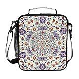 Hunihuni Mandala Islam Arabisch Isolierte Lunchbox Tote Bag Leckproof Bento Box mit verstellbarem Schultergurt für Erwachsene und Kinder