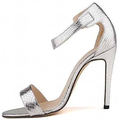 La Mode Sandales femme sexy bride talon haut à bout ouvert escarpins d'été- blanc/bleu/beige/doré/argenté/rouge