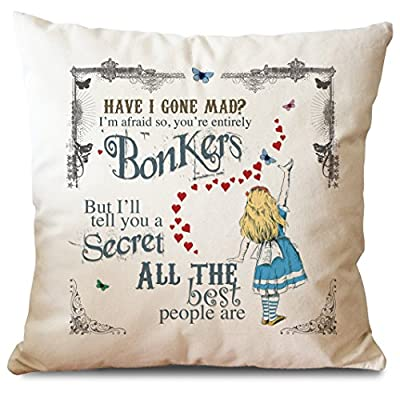 Alice in Wonderland Mad Hatter Tea Party Cushion Cover Bonkers Hearts - low-cost UK light store.