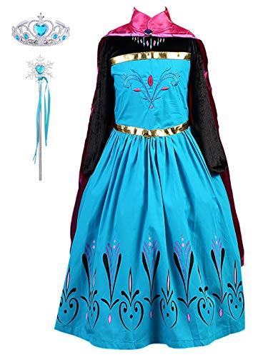 Yonier carnevale costume principessa regina delle nevi anna vestito travestimento vestito anna medica bambina con mantello costume per bambine costume con mantellina tutte le taglie