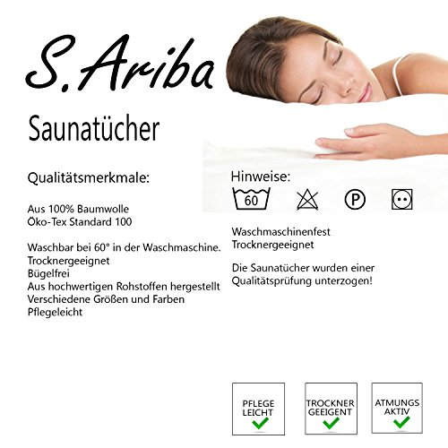 S.Ariba Super weiche Baumwolle Saunahandtücher - 3