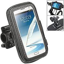 TecHERE BikeProof Plus - Soporte Impermeable Universal para Bicicleta Moto - Carcasa Teléfono Móvil para iPhone X 8 7 6s 6, Samsung Galaxy S7 S6 y otros Teléfonos Inteligentes de hasta 5.5'' (Negro)