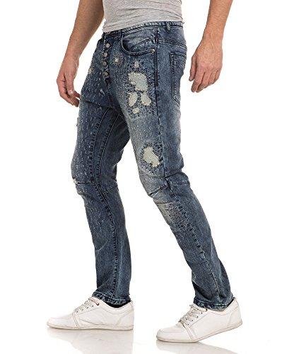 BLZ jeans - Zerrissene und Drehen Nähen Jeans Blau