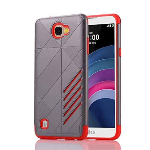 YHUISEN LG X5 Case, 2 In 1 Rüstung Tough Style Hybrid Dual Layer Rüstung Defender PC + TPU Schutzhülle für LG X5 ( Color : Gray Red ) Gray Red