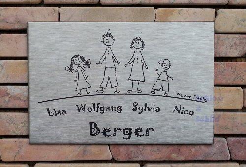 Familienschild/Namensschild / Türschild in Edelstahl gebürstet, 120x80 mm, selbstklebend oder mit zwei seitlichen Bohrungen zur Schraubmontage lieferbar