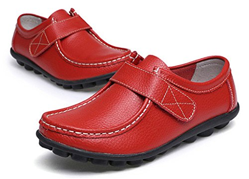 NEWZCERS Frauen weiche treibende Schuhe Rindsleder Leder Klettverschlüsse Loafers Bootsschuhe Weinrot