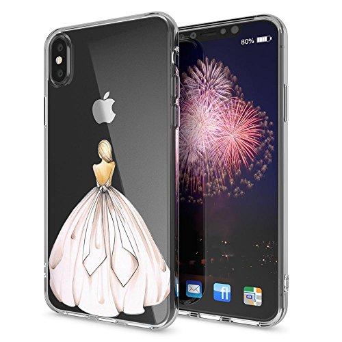 iPhone X Coque Protection de NICA, Housse Motif Silicone Portable Premium Case Cover Transparente, Ultra-Fine Souple Gel Slim Bumper Etui pour Telephone Apple iPhone-X - Transparent Princess Pink Rose