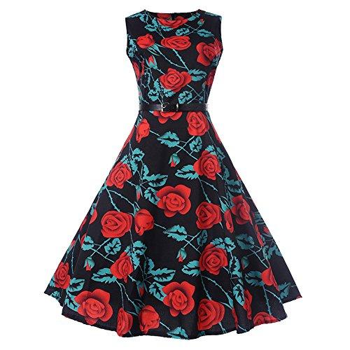 TEBAISE Sommer Frauen Konzert formellen Anzug Vintage Druck Bodycon Sleeveless beiläufige Abendgesellschaft Prom Swing Kleid geschichteten Rock(Rot,EU-38/CN-L)