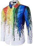 EUDOLAH Herren Casual Shirt Slim Fit Langarmhemd mit Bunt Farbspritzer Digital Print Druck (L (Tag XL), C118 Lackmalerei)