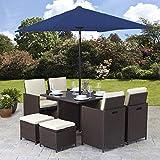 Bella Life Rattan Cube Garden Furniture Set 8 seater outdoor 9pcs with Parasol